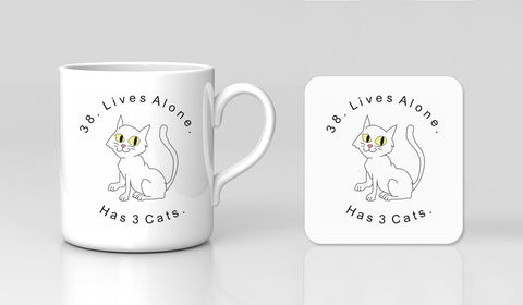 Impractical Jokers Team Q Tattoo Cat Lives Comedy Mug & Coaster Gift Set New