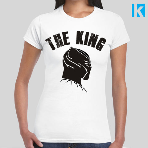 Black Panther The King T-shirt Womens Girls S-2XL Tee Top Cool Marvel Film Movie Wakanda Super Hero