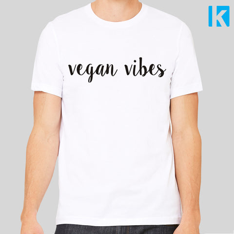 Vegan Vibes Unisex Mens T-Shirt Tee Top Nature Ethical Vegetarian No Meat Love Animals Friends