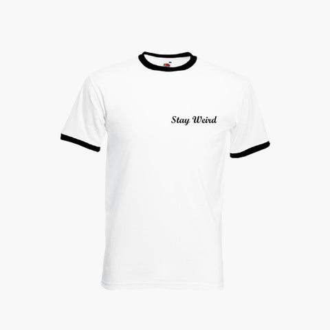 Stay Weird Funny Cute Left Breast T-Shirt Ringer Top S-2XL New