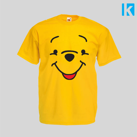 Pooh Bear Fan Art Face Book Classic Winnie Christopher Robin Mens Unisex Top Tshirt