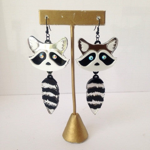 Acrylic Raccoon Earrings