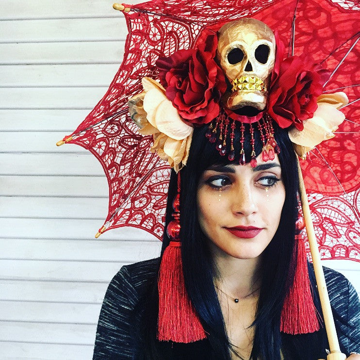 Skull Headdress: Red and Gold