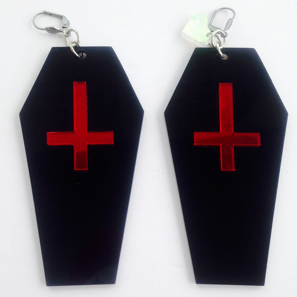 Marina Fini / Coffins w/ Upside Down Cross Earrings