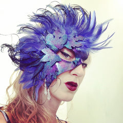 Faerie Leaves and Feathers Leather Half Mask