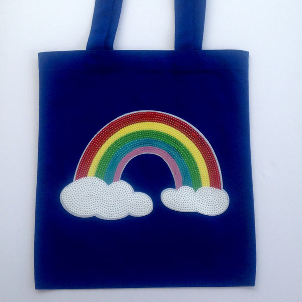 Sequin rainbow canvas tote