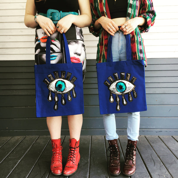 Sequin Evil Eye Canvas Tote