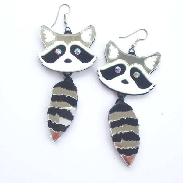 Plexi Raccoon Earrings