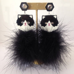 Acrylic / Marabou Kitty Fluff Earrings