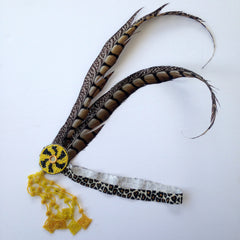 Feather Headband with Beaded Fringe