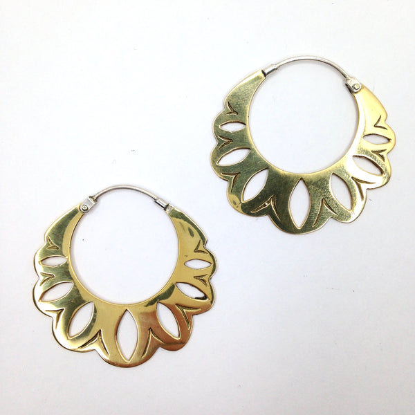 Balinese / Shakti Flower Brass Earrings