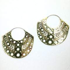 Balinese / Aztec Brass Earrings