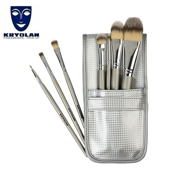 Kryolan 7 Piece Brush Set with Silver Pouch