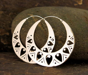 Balinese / Tribal Moon Earrings