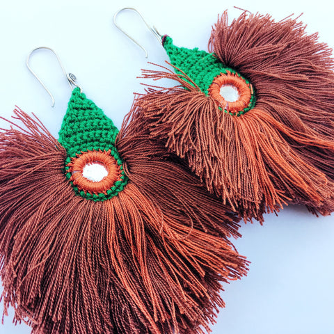 Corinne Loperfido Neon Fringe Earrings