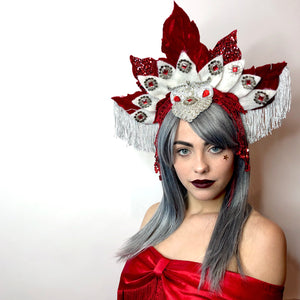 Red + White Leaf Crown Headdress