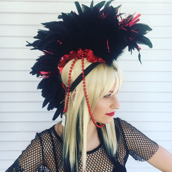 Headdress / Feather Mohawk Red and Black