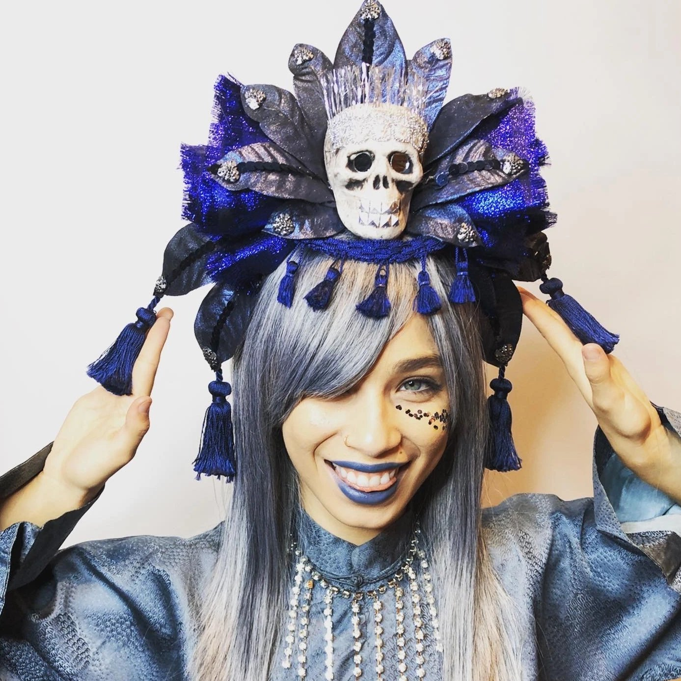 Mood Indigo Skull Headdress