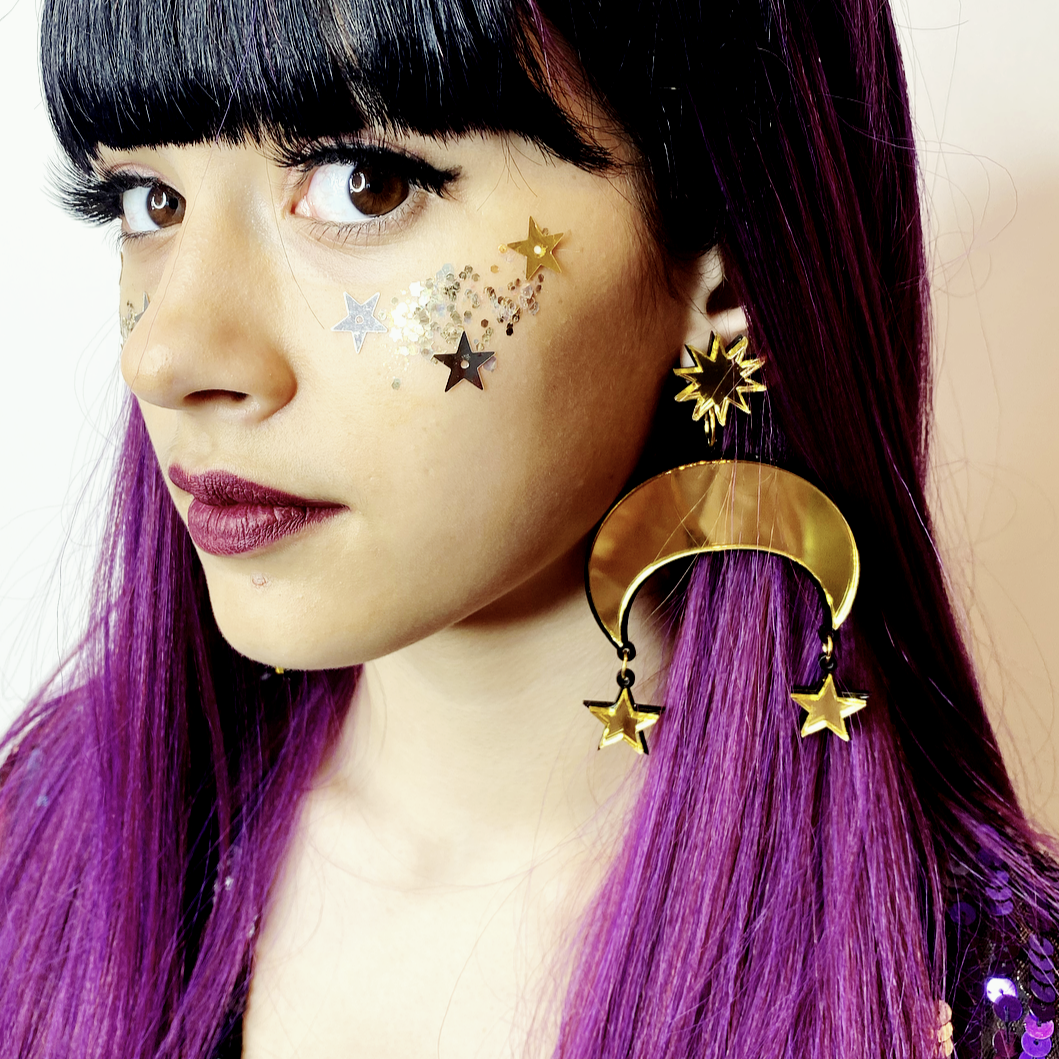 Acrylic Magic / Stars + Crescent Earrings