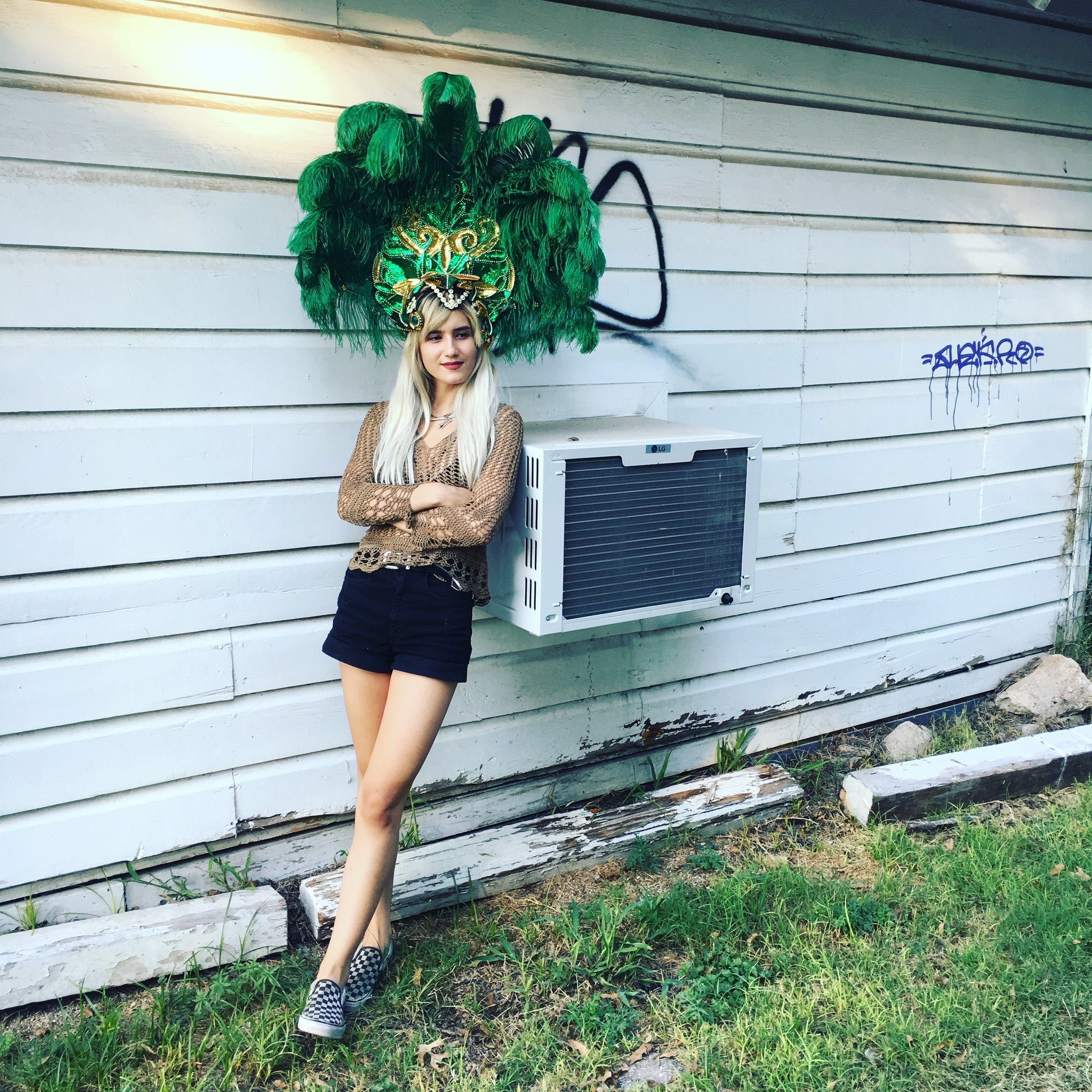 Vintage Green and Gold Samba / Showgirl Headdress