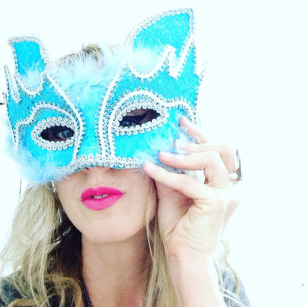 Powder Blue Kitty Mask