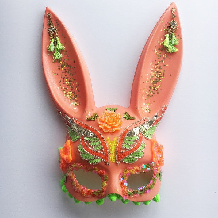 Peaches and Lime Custom Bunny Mask