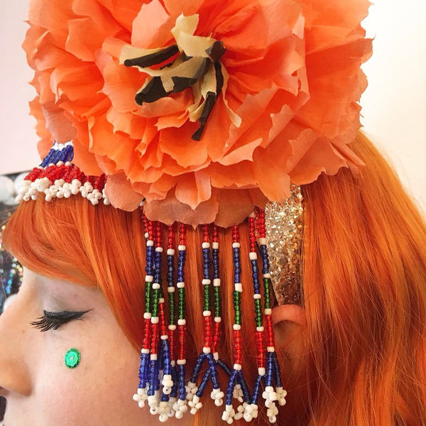 Headdress / Beaded Flores de Papel