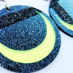 Plexi Glitter Luna Earrings