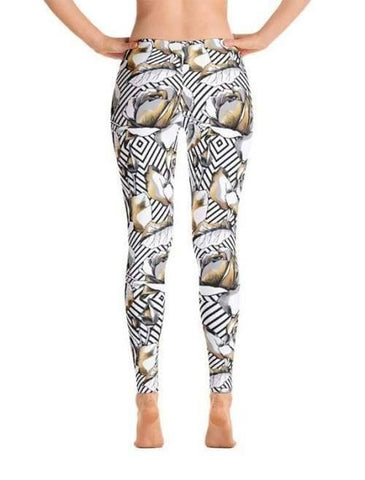 Image of Gold Rose Flowers Geometric Leggings - Leggings Custom Made