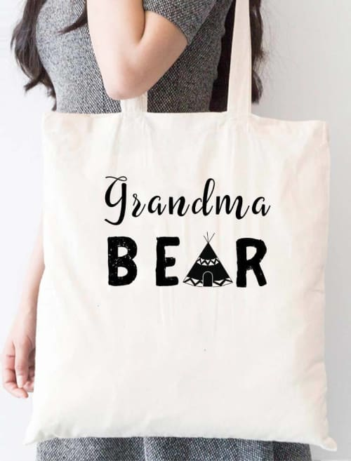 Grandma Bear Indian Hut Tote Bag - Tote Custom Made