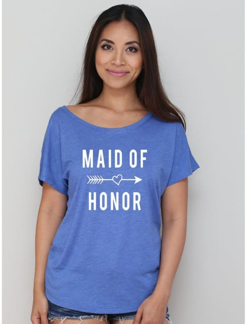 Maid Of Honor With Cute Arrow Dolman Tee - Dolman Tee Custom Made