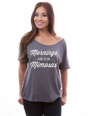 Image of Mornings Are For Mimosas Comfy Slouchy Brunch Tee - Slouchy Tee Custom Made