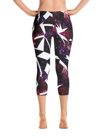 Image of Watercolor Dark Triangles With Starry Sky Leggings - Leggings Custom Made