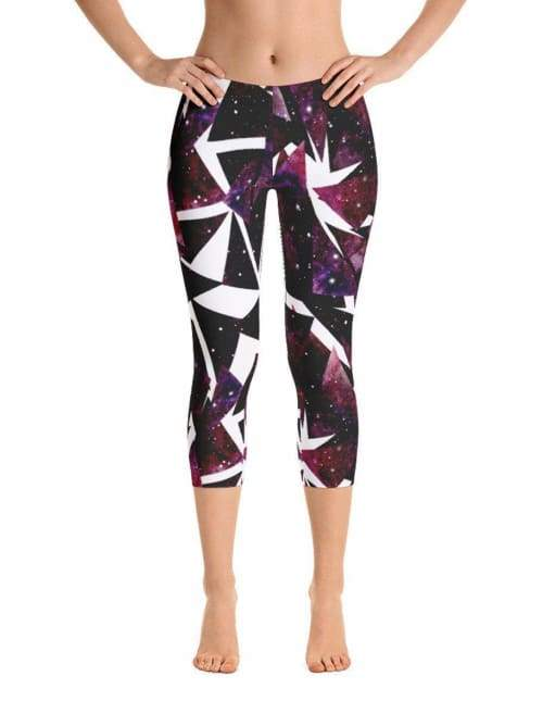 Watercolor Dark Triangles With Starry Sky Leggings - Leggings Custom Made