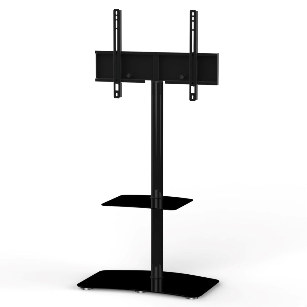 "Sonorous PL-2810 Modern TV Floor Stand w/ Tempered Glass Shelf For TVs up to 65"" - Black"