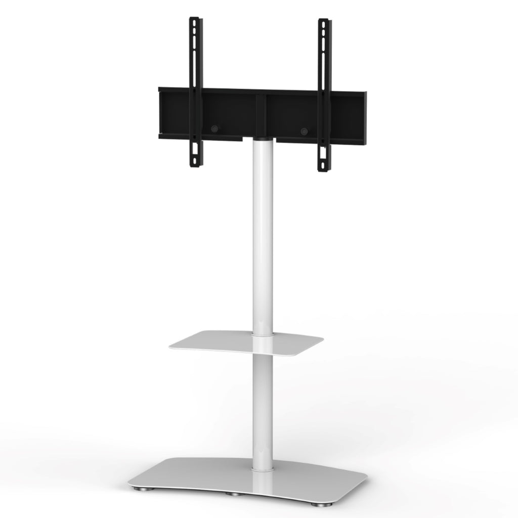 "Sonorous PL-2810 Modern TV Floor Stand w/ Tempered Glass Shelf For TVs up to 65"" - White"