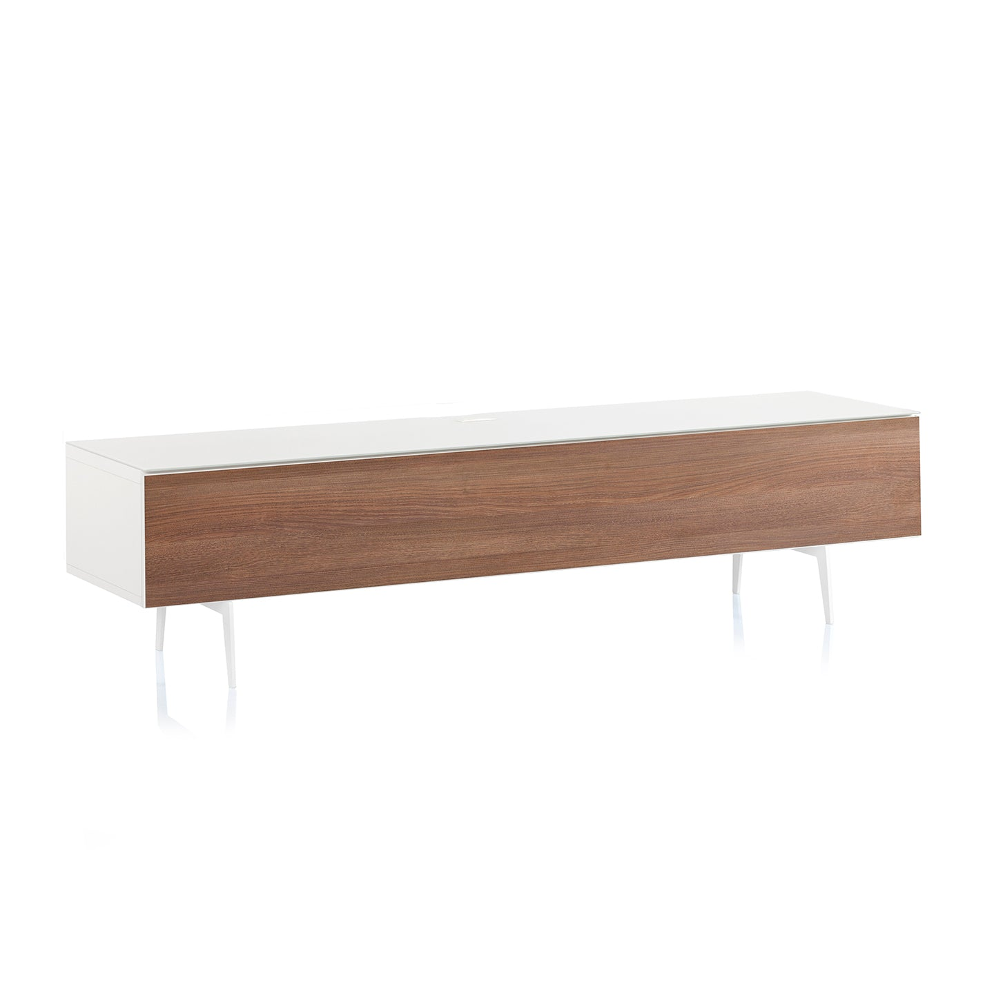 "Sonorous Studio ST360 Modern TV Stand w/ Spike Legs for TVs up to 75"" - White / Walnut Wood Cover"