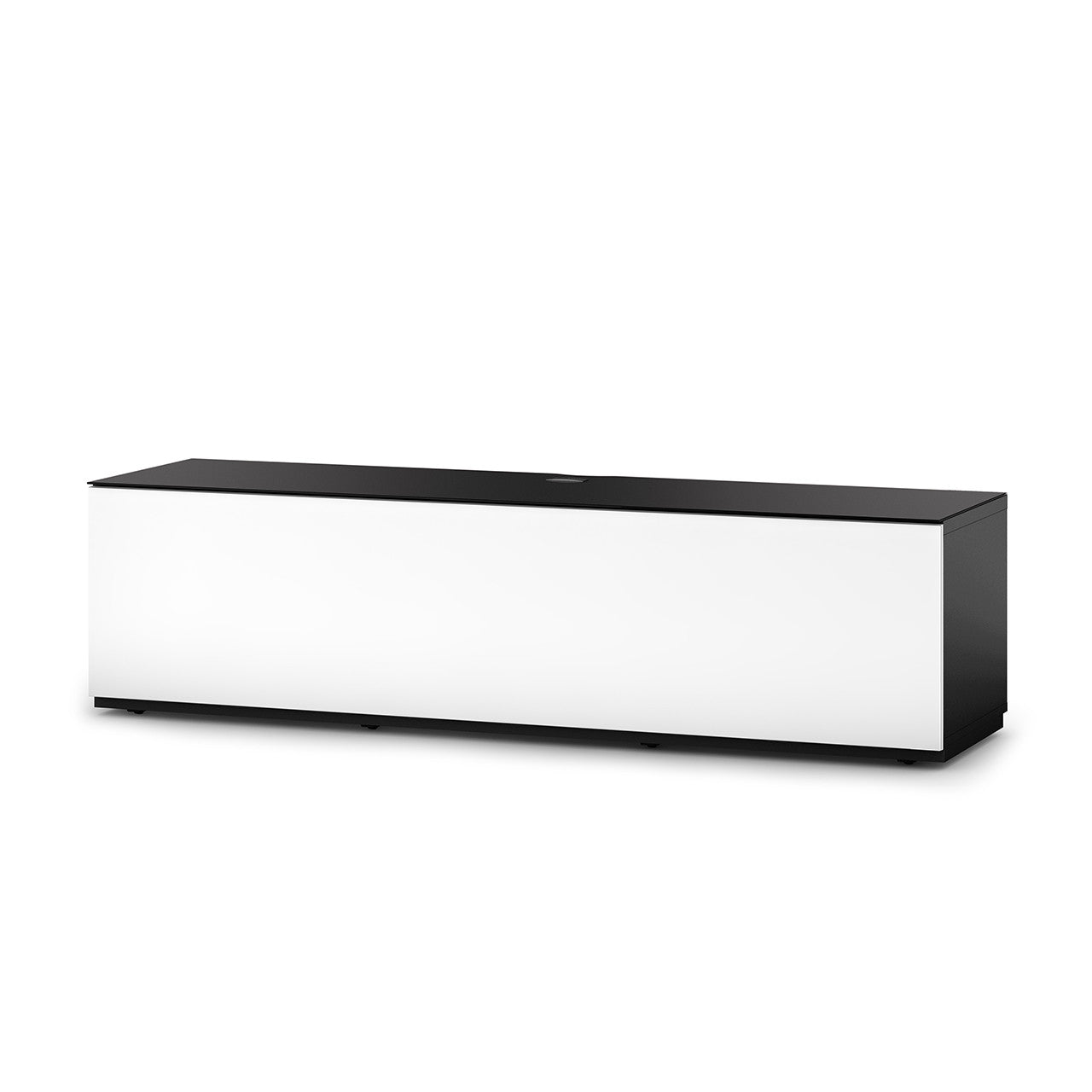 "Sonorous Studio ST160 Modern TV Stand w/ Hidden Wheels for TVs up to 75"" - Black / White Wood Cover"