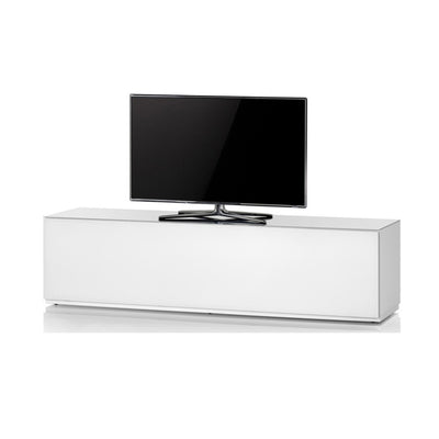 "Sonorous Studio ST160 Modern TV Stand w/ Hidden Wheels for TVs up to 75"" - White / White Wood Cover"