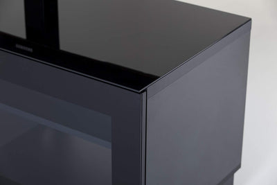 "Sonorous Studio ST110 Modern TV Stand w/ Hidden Wheels for TVs up to 65"" - Black / Black Glass Cover"