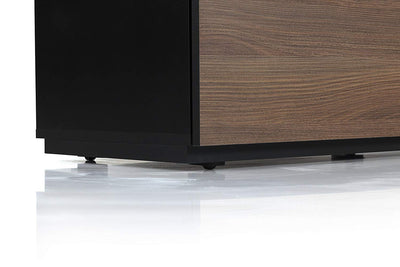 "Sonorous Studio ST110 Modern TV Stand w/ Hidden Wheels for TVs up to 65"" - Black /  Walnut Wood Cover"