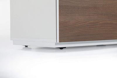 "Sonorous Studio ST110 Modern TV Stand w/ Hidden Wheels for TVs up to 65"" - White / Walnut Wood Cover"