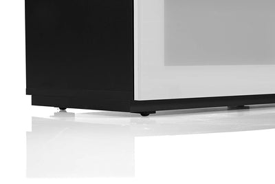 "Sonorous Studio ST110 Modern TV Stand w/ Hidden Wheels for TVs up to 65"" - Black / White Glass Cover"