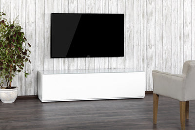 "Sonorous Studio ST160 Modern TV Stand w/ Hidden Wheels for TVs up to 75"" - White / Walnut Wood Cover"