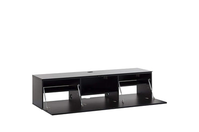 "Sonorous Studio ST160 Modern TV Stand w/ Hidden Wheels for TVs up to 75"" - Black / Black Wood Cover"