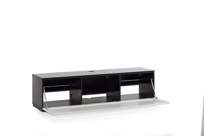 "Sonorous Studio ST160 Modern TV Stand w/ Hidden Wheels for TVs up to 75"" - Black / White Glass Cover"