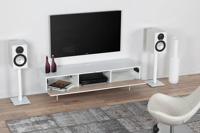 "Sonorous Studio ST360 Modern TV Stand w/ Spike Legs for TVs up to 75"" - White / White Wood Cover"