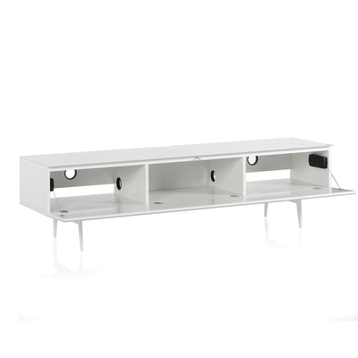 "Sonorous Studio ST360 Modern TV Stand w/ Spike Legs for TVs up to 75"" - White / Black Wood Cover"