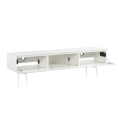 "Sonorous Studio ST-360 Modern Wood and Glass TV Stand w/ Spike Metal Legs for TVs up to 75"" - White / Black Frosted Glass Cover"
