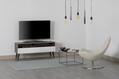 "Sonorous VL1200 Series Modern TV Stand w/ Wood Legs for TVs up to 65"" - Walnut Cabinet / White Cover"